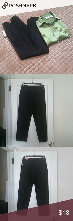 """Black Dress Pants - Kim Rogers Shannon Fit: sits at natural waist with comfort stretch - relaxed through hip and thigh - straight leg - 2 front pockets, 2 faux back pockets - still has TAGS attached  - Inseam: 28"""" - 97% Cotton, 3% Spandex Kim Rogers Pants Trousers"""
