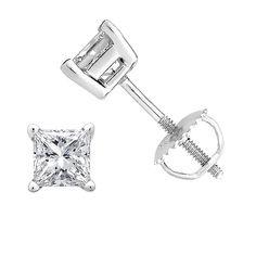 Princess cut Diamond Stud (IGI Certified (0.70ct