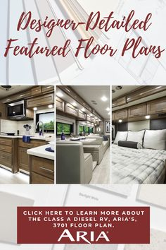 Check out today's featured floor plan, the 2021 Aria 3701. This one is beautiful with Tidal Wave paint, and Sanibel cabinetry. It has a king-size Tilt-A-View bed, a stacking washer and dryer, and residential appliances. Click here for more details, including pricing, for this Class A Diesel Motorhome!