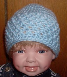 blue beanie 0 to 3 months by grandmakaystreasures on Etsy, $4.00