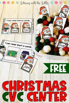This Free Christmas CVC Word Center is perfect for beginning readers. Add it to a festive sensory bin for extra holiday fun! The cute snowmen cards make reading short vowel words even more exciting. Kindergarten preschool homeschool first grade. Snowman Cards, Cute Snowman, Snowmen, Christmas Activities, Christmas Themes, Activities For Kids, Christmas Door, Extra Holidays, Kindergarten Literacy