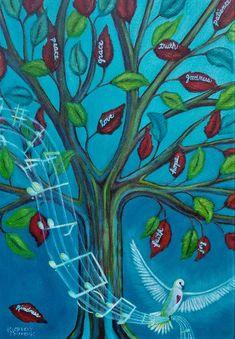 acrylic painting of tree and dove #kimberlymccormick #artbykimberly #acrylicartist #etsyshopowner #etsyartist #houstonartist #texasartist #womenartist #propheticart #christianart #dove #musicalart #treeart #contemporarychristianart #propheticpainting