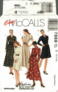 McCall's 7888 Pattern uncut 12 14 16 Fashion Basics Button Front Dress