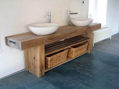 Oak Bathroom Vanity Units top likeable splendid solid oak bathroom vanity unit at wood vanities ZOYLINA - Kitchen Ideas Bathroom Basin Units, Sink Vanity Unit, Bathroom Vanity Units, Sink Units, Double Sink Vanity, Bathroom Furniture, Small Bathroom, Bathroom Wall, Bathroom Sinks