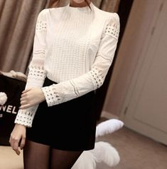 New Fashion Slim Cotton hook Flower Pattern Hollow Out Lace Shirt Blouse Casual Women Ladies Blouse 2015 White Lace Blouse, Lace Outfit, Chiffon, Fashion Fabric, Aliexpress, Lace Sleeves, Lace Tops, Women's Fashion Dresses, Sleeve Styles