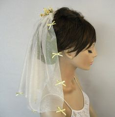 Blusher tulle veil  bridal fascinator shoulder by MammaMiaBridal, $60.00