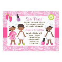 spa party ideas for girls birthday | Kids Spa Birthday Party African American Custom Announcement from ...
