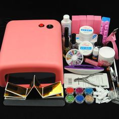 36W UV Lamp Dryer Nail Art Tips Kit Glitter UV Gel Powder Topcoat Tips Tools Set #Unbranded
