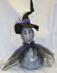 Halloween Witch Gourd  Hand Painted New Design by FromGramsHouse, $35.00
