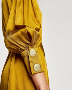 How to wear mustard yellow Was soll ich anziehen? Zara Dresses, Satin Dresses, Yellow Satin Dress, Dressy Dresses, Gold Dress, Hijab Fashion, Fashion Dresses, Woman Dresses, Fashion Fashion