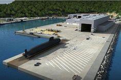 Representação gráfica 3D de como ficará o Estaleiro do Complexo Naval de Itaguaí (RJ) quando concluído.