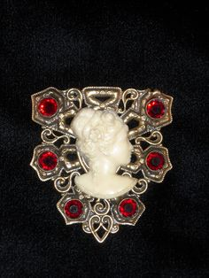 Unique, I've never seen one like this.  Joseff of Hollywood Cameo Lady Ruby Jewelled Brooch