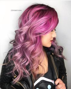 Purple Violet Red Cherry Pink Bright Hair Colour Color Coloured Colored Fire Style curls haircut   Pulp Riot
