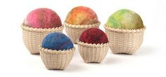 Felted basket pin cushions