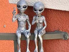 Garden Figurines, Garden Statues, Zombie Halloween Decorations, Dragon Garden, Space Aliens, The Visitors, Potted Plants, Outdoor Gardens, Sims