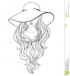 Outline of young woman in vintage hat with large fields Vector Image – Vector illustration of People © lecreati 58249 Art Sketches, Art Drawings, Coloring Pages Inspirational, Woman Drawing, Coloring Book Pages, Girl With Hat, Fabric Painting, Line Art, Portrait