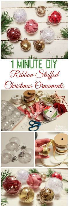 Beautiful, simple, and fast -a tutorial for these 1 minute DIY ribbon stuffed Christmas ornaments at The Happy Housie