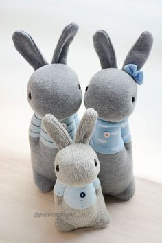 Best Unique Gifts And Gift Sock Crafts, Bunny Crafts, Easter Crafts, Sewing Crafts, Sewing Projects, Diy Crafts, Sock Bunny, Handmade Stuffed Animals, Sock Dolls