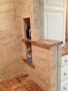 granite shelves in niches
