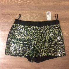 Sequined Shorts Green and Black Sequined shorts Shorts