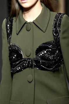 Prada, Milan, Spring 2014 ~ I wonder if you're supposed to wear a bra also under this coat and bra combo?