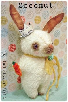 grimitives©2014 Primitive Mohair Bunny Rabbit Spring Tuck Doll by GRIMITIVES