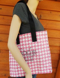 retro owl gingham handmade grocery tote