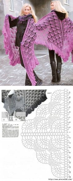 53 Ideas for crochet sweater wrap pattern prayer shawl Poncho Au Crochet, Pull Crochet, Crochet Poncho Patterns, Crochet Shawls And Wraps, Crochet Motifs, Shawl Patterns, Crochet Diagram, Crochet Chart, Knitted Shawls