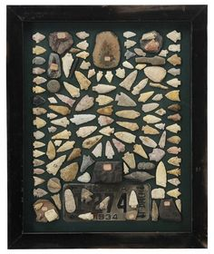 Arrowhead Collection: most projectile points, several grinding tools, several pieces earthenware pottery, most identified from specific locations in Georgia, (120 pieces); in shadowbox frame with 1934 Georgia license plate