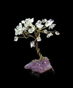 Miniature Bonsai Gem Tree With Clear Quartz Crystal and Amethyst by SplendidStones, $26.00