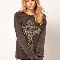 ASOS Sweatshirt with Spiral Baroque Cross at asos.com