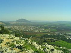 A view from Mount of Precipice towards Mount Tabor and the Valley of Jezrael