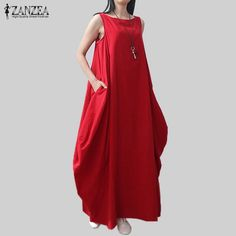 Casual Retro Solid Summer Dress Women Elegant Loose Sleeveless O Neck Dress Cotton Linen Long Maxi Dress Vestidos Plus Size