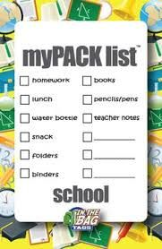 Image result for school bag check list
