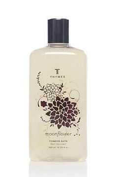 Thymes Liquid Foaming Bath, Moonflower, 12.25-Ounce Bottle by Thymes. $20.00. 12.25 Fluid ounces of fragrant Moonflower Liquid Foaming Bath. Thymes guarantees their products are not tested on animals; use without guilt. Moonflower's packaging is as lovely as what's inside, the original artwork, with its gilded floral design, has won numerous industry awards. Swirling notes of cinnamon and clove dance on sugared quince, while fresh myrtle leaves and mahogany are shrou...