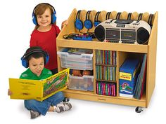 Lakeshore's Mobile Listening & Storage Center provides an instant listening center and easy-access storage space for all your music supplies—in one compact unit!