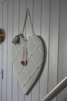 East of india heart padded mother of pearl buttons memo board shabby chic