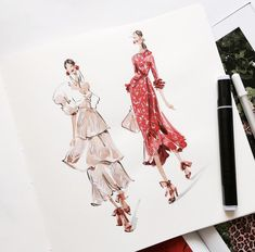 Mar 2020 - Source by vivienhf design sketches Fashion Model Sketch, Fashion Design Sketchbook, Fashion Design Portfolio, Fashion Design Drawings, Fashion Sketches, Dress Sketches, Fashion Drawing Dresses, Fashion Illustration Dresses, Drawing Fashion
