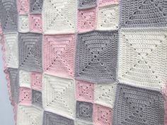 Items similar to crochet blanket, pink, cream organic cotton on Etsy