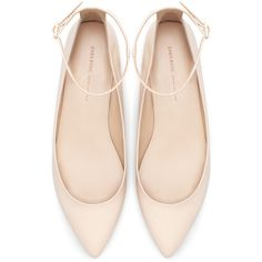 Zara Pointed Ballerina With Ankle Strap (53 CAD) found on Polyvore featuring shoes, flats, zara, footwear, nude, ankle tie ballet flats, ankle strap ballet flats, pointed flats, zara flats and flat shoes