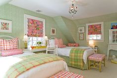 love the simple bedding, but pops of color with the windows