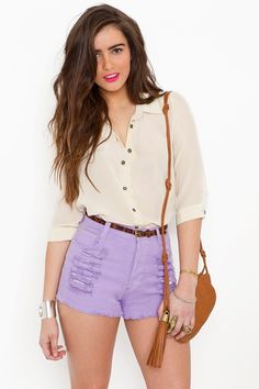 I love these lavender shorts! I'm ready to shop at Goodwill for some pants and make some cute DIY shorts like this!