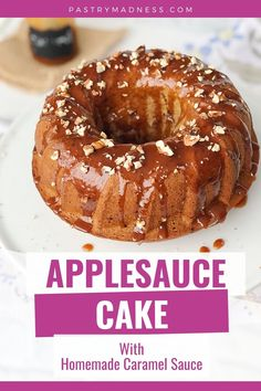 Looking for an easy and delicious fall baking recipe? Then no worries because here I'll show you how to make Applesauce Cake with Homemade Caramel Sauce which even a beginner can do! This delicate and fragrant cake is a great recipe to have for your fall baking. Homemade Cake Recipes, Baking Recipes, How To Make Applesauce, Homemade Caramel Sauce, Fall Baking, Cake Batter, Serving Plates, Great Recipes, Madness