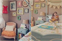 I want to make my little girls room look just like this-- except paint her bed and nightstand pink. ;)  ooo. and I LOVE that chair!! ♥