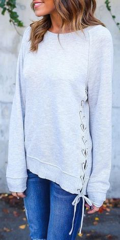 #cute #outfits Sides Lace Up Sweater // Skinny Jeans