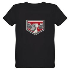Hand Lifting Barbell and Kettlebell Shield T-Shirt