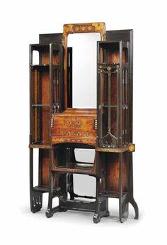 Art Nouveau Secretaire Cabinet by Eugenio Quarti ca. 1900.
