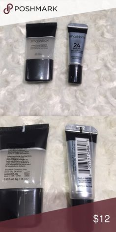 Smashbox Photo Finish Primer with Shadow Primer Never opened. The shadow primer is not very full, but it had met been used. That will come free with the face primer. The face primer is 0.5 ounces and sealed. It's listed as the travel size on the Sephora website. Price is firm. Bundle for further discounts. NO OFFERS, NO TRADES. I video outgoing orders for our protection. Smashbox  Makeup Face Primer