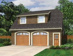 Garage Outbuilding with Hip Roof and Dormers