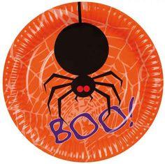 6 kartonnen bordjes met een enge spin er op. De afmetingen van deze bordjes zijn 18cm. #halloween